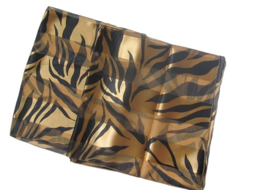 Gold and Black Tiger Animal Print Satin Stripe Sash Belt / Headband / Oblong Scarf (Headband Scarf Belt)