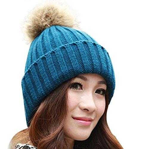 NEEKEY Women Winter Fur Ball Warm Hat Crochet Knitted Wool Cap NY(Free Size,Navy) (Velvet Pimp Hat)