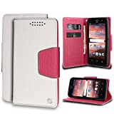 ZTE Maven Case, Overture 2, ZTE Fanfare, ZTE Speed, PimpCase Full Body Protection Slim White Pink Synthetic Leather [Flip Wallet Cover] With Magnetic Closure Built in Kickstand Card Holder Cash Slot