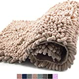 Freshmint Chenille Bath Rugs Extra Soft and Absorbent Microfiber Shag Rug, Non-Slip Runner Carpet for Tub Bathroom Shower Mat, Machine-Washable Durable Thick Area Rugs (16.5' x 24',Beige)