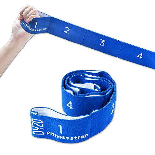 Flexibility Resistance Band Yoga Belt with 8 Loops, Yoga Strap Stretch Strap Exercise Strap (Blue)