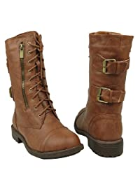 Women's Mid Calf Casual Comfort Rounded Toe Combat Boots US Sizes 5.5-10 Tan
