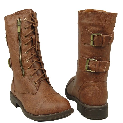 Tan 5 Casual Mid Combat Rounded Sizes Toe Boots 10 Tan Calf Comfort 5 US Women's FvxfOqv
