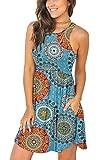 LONGYUAN Women's Summer Casual Dresses Juniors Sundresses Medium, FL Mix Blue: more info