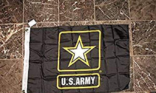 2x3 Black Army Strong Printed 2ply Sewn Double Sided Poly Nylon Flag 2'x3'