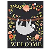 ALAZA Welcome Funny Sloth On Tree Double Sided Garden Yard Flag 12'' x 18'', Summer Tropical Spring Flower Floral Decorative Garden Flag Banner for Outdoor Home Decor Party
