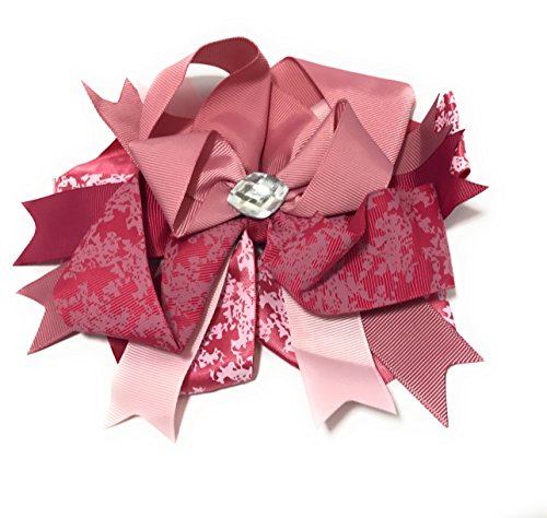 Chicky Chicky Bling Bling Jumbo Boutique Hair Bow with Bling Stone mauve and pink lace Mauve Stone