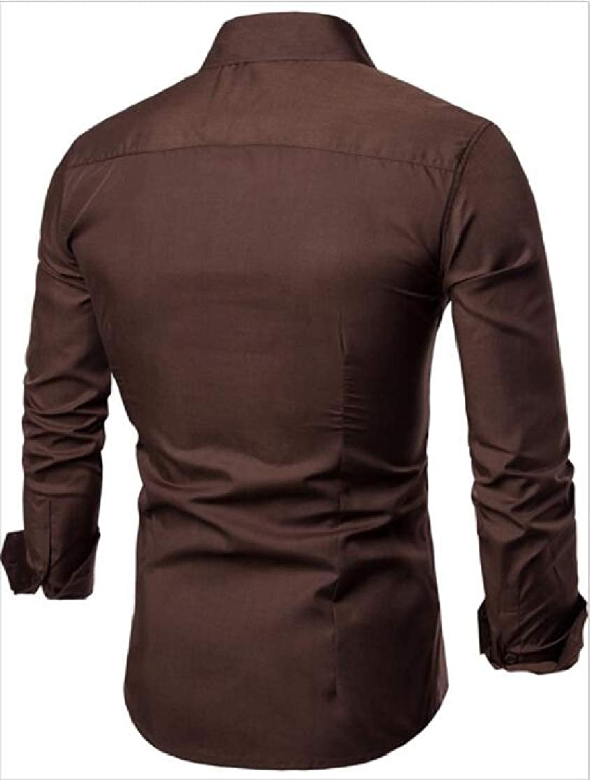 Cromoncent Mens All-Match Solid Cotton Long Sleeve Button-Down Slim Fit Shirt