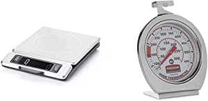 OXO 11214800 Good Grips 11 Pound Stainless Steel Food Scale with Pull-Out Display,Black,1.2 & Rubbermaid Commercial Products Stainless Steel Instant Read Oven/Grill/Smoker Monitoring Thermometer