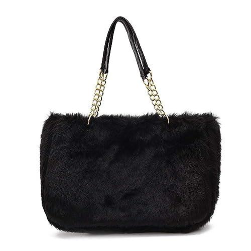 Yu He Womens  Faux fur Messenger Crossbody Shoulder Bag Satchel Tote  Handbag Black 190b7d74fcf0e