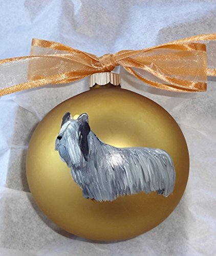 Skye Terrier Dog Hand Painted Christmas Ornament - Can Be Personalized with Name