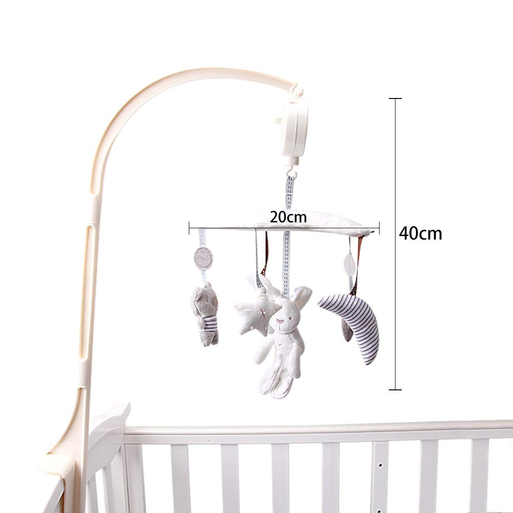 White Deerbb Baby Nursery Crib Mobile Bed Bell Musical Interactive Toys for 0-12 Months Newborn Best Kids Boys Girls Gift Infant Cot Bassinet Mobile Bed Ring with Arm and Music Box