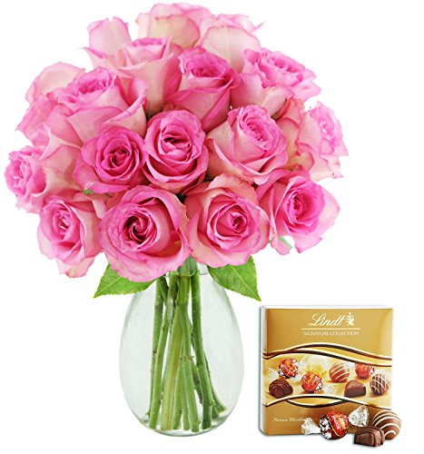 Kabloom Bouquet of 18 Fresh Pink Roses (Farm-Fresh, Long-Stem) with Vase and One Box of Lindt Chocolates