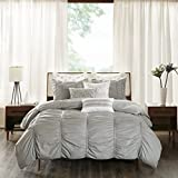 Ink+Ivy Reese Full/Queen Size Bed Comforter Set - Grey, Pintuck – 3 Pieces Bedding Sets – 100% Cotton Bedroom Comforters