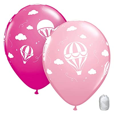 "10 Pack 11"" Hot Air Balloons Pink Latex Balloons with Matching Ribbons: Toys & Games"