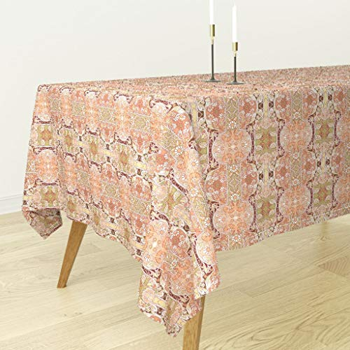 Roostery Tablecloth - 2084 Daisy Poppy Art Nouveau Paisley Leaves Fall Colors by Edsel2084 - Cotton Sateen Tablecloth 70 x 144