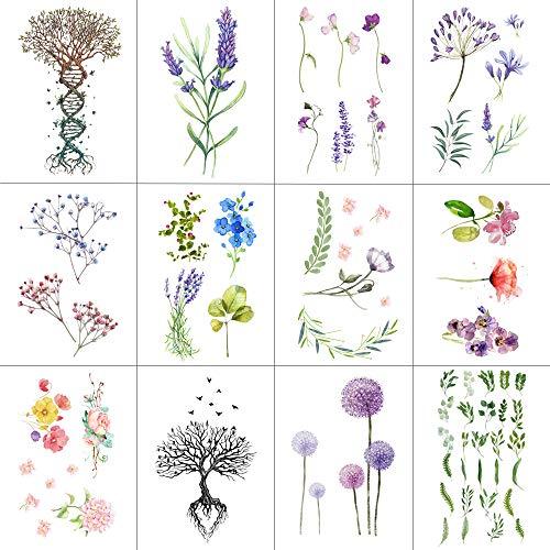 WYUEN 12 PCS/lot Flower Temporary Tattoo Sticker for Women Men Fake Tatoo Body Art Adult Waterproof Hand Stickers 9.8X6cm W12-04]()