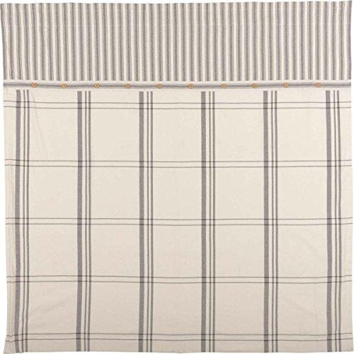 Piper Classics Market Place Shower Curtain, 72'' x 72'', Ticking Stripe w/Grey & Cream Plaid by Piper Classics (Image #1)