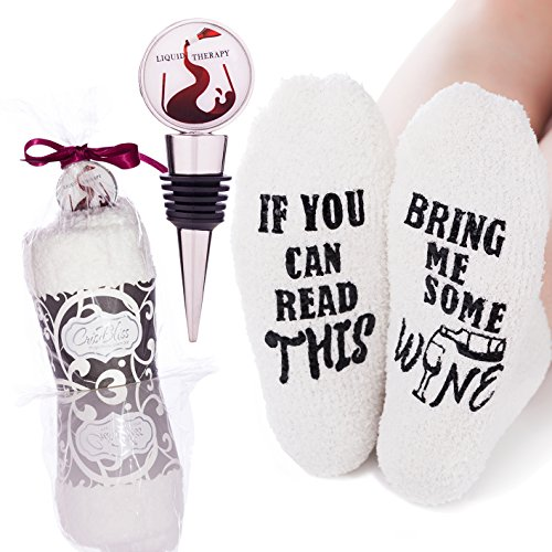 """Fluffy Novelty Wine Socks 