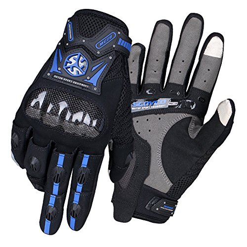 SCOYCO Men's Street Touch Screen Full Finger Motorcycle Cycling,with Reinforced Knuckle Ventilate Outdoor Glove.(BLUE,L)