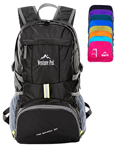 Venture Pal Ultralight Lightweight Packable Foldable Travel Camping Hiking Outdoor Sports Backpack Daypack (Black)