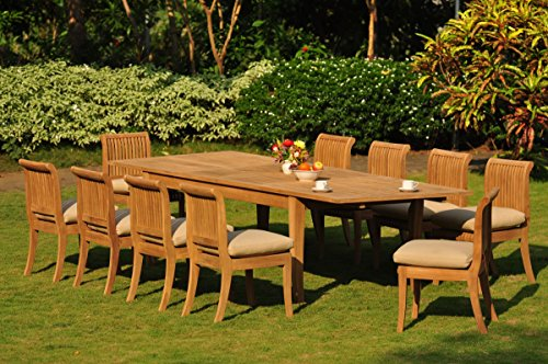New 11 Pc Luxurious Grade-A Teak Dining Set - Very Large Atnas 122