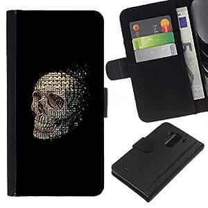 ZCell / LG G3 / Skull Abstract Meaning Black Death / Caso Shell Armor Funda Case Cover Wallet / Cráneo Resumen Significado Negro Muerte
