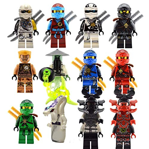 IliGo The Whole Ninjago Ninja Crew: 12 Ninja Minifigures with Accessories Ghost Yang NYA Zane Llyod Kai (Bag Cable Poly)