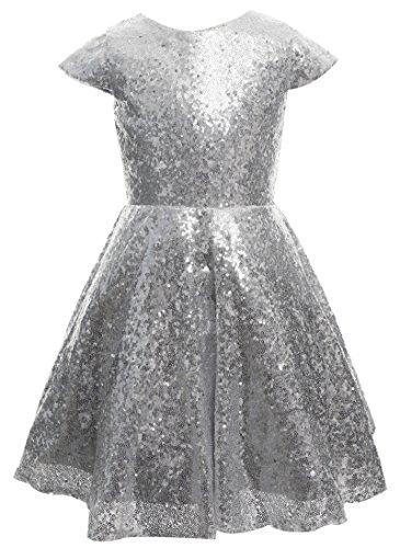 princhar Girl's Sequin Tutu Flower Girl Dress Kids Party Holiday Dress US 5TSilver for $<!--$35.99-->