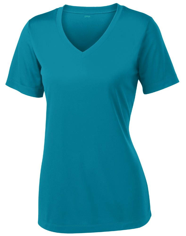 Opna Women's Short Sleeve Moisture Wicking Athletic Shirt, Large, Tropical Blue