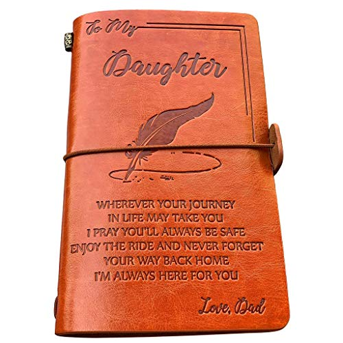 (to My Daughter Leather Journal-Enjoy The Ride Writing Journal Drawing Sketch Book,120 Page Travel Diary Refillable Notebook,to Daughter Gift for Birthday)