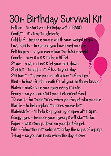 30TH BIRTHDAY SURVIVAL KIT PINK Amazoncouk Toys Games