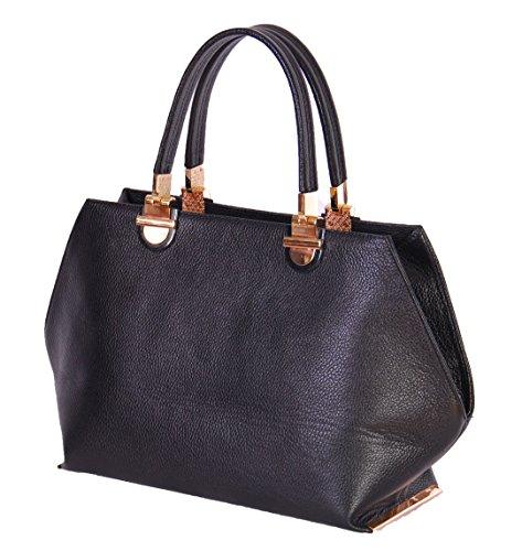 Immobilier Sac en cuir noir pour Femmes Fox Haute Qualité Grab poignées Zip Top Sac à main