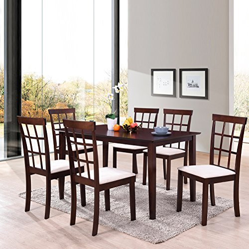 Harper&Bright Designs 7 Piece Dining Set Rubber Wood Construction 4 Person Dining Table with Microsuede Upholstered Chairs (7 piece) (7 Piece Slat)