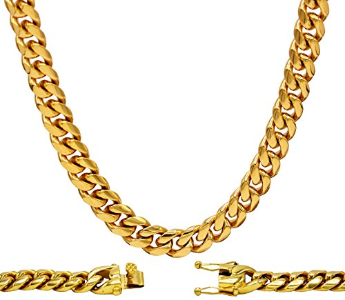 "Cuban Link Necklace 18k Gold Plated Miami Cuban Chain Stainless Steel Fashion Jewelry 10 mm 30"" (Miami Cuban Link Necklace)"