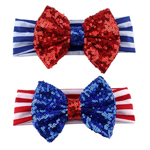 CheeseandU 2Pcs 4th of July Headband for Girls American Flag Striped Elastic Hair Band Kids Patriotic Big Sequin Bow Headbands 2019 Independence Day Hair Accessories,Red&Blue (Best Cheap Bows 2019)