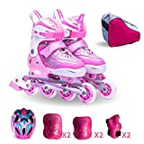 DSFGHE Inline Skate Set 3-10 Years Old Beginners Adjustable Straight Row Roller Skates Boys And Girls Kids Adult Rollerblades Ice Skate,Pink-L