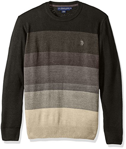 U.S. Polo Assn. Men's Color Block Striped Crew, Charcoal Heather, Large