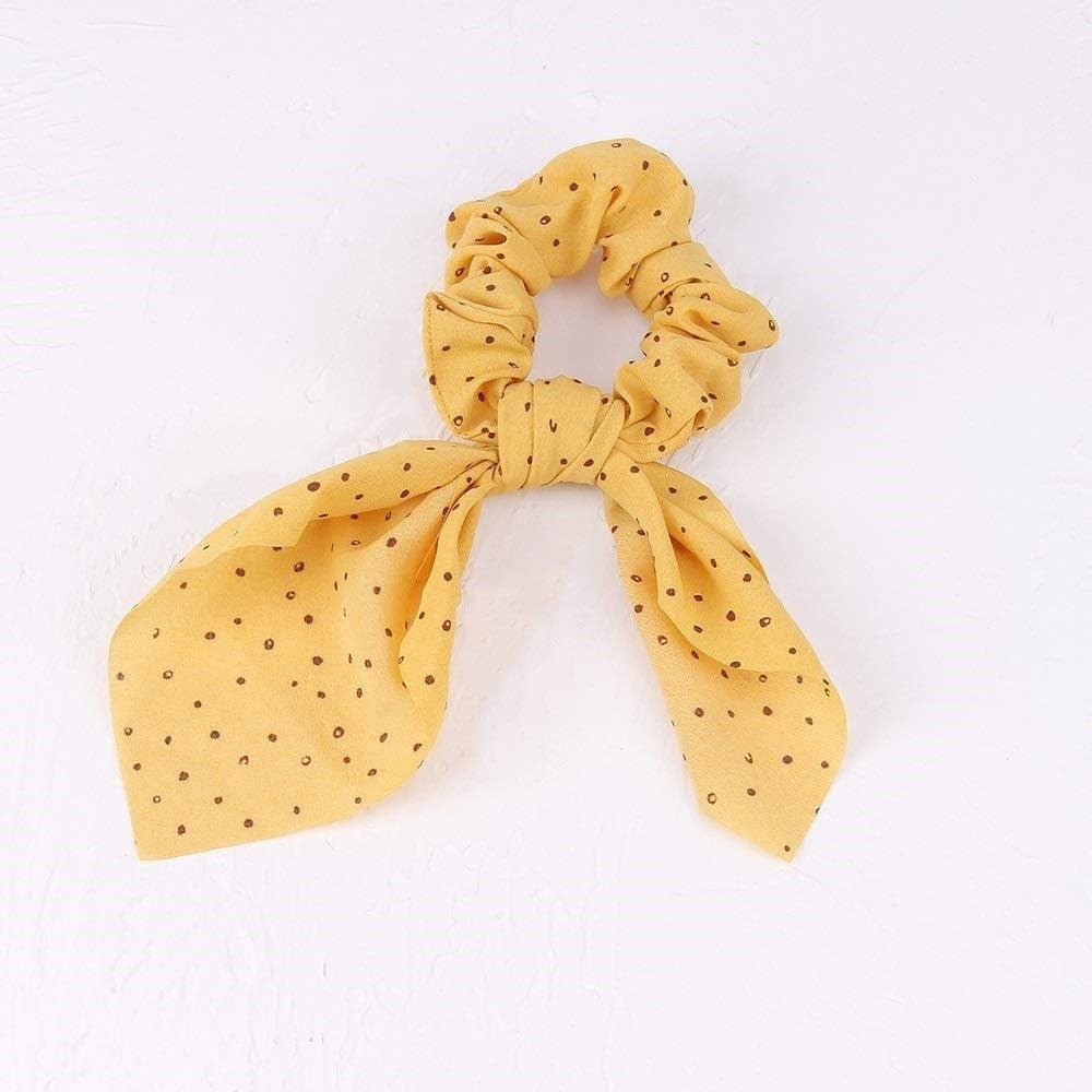 Dibe Cola de Caballo de Las Mujeres Cuerda Pelo de la Venda elástico del Pelo de Las Mujeres Venda del Pelo del Nudo de la Muchacha Accesorios del Pelo del Lazo del Pelo (Color : Yellow)
