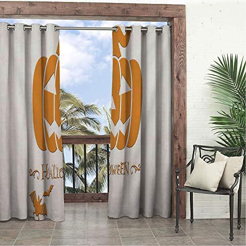 Linhomedecor Balcony Waterproof Curtains Cartoon Halloween Pumpk pergola Grommets Backdrop Curtain 96 by 96 inch