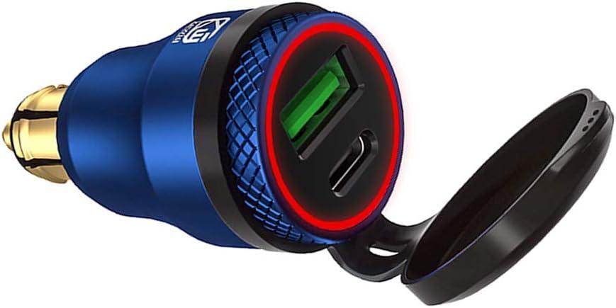 Meatyhjk Waterproof Motorbike 12V 24V QC3.0 USB Type C PD Fast Charger Power Adapter Hella DIN Plug Socket for BMW Ducati Triumph Motorcycle