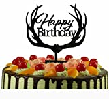 Happy Birthday Cake Topper Monogram Black Mirror Acrylic Antler Party Celebration Decorations