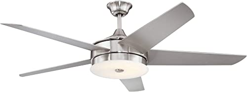 60 Edge Modern Ceiling Fan with Light LED Dimmable Remote Control Brushed Nickel Silver Blades White Frosted Glass for Living Room Kitchen Bedroom Family Dining – Possini Euro Design