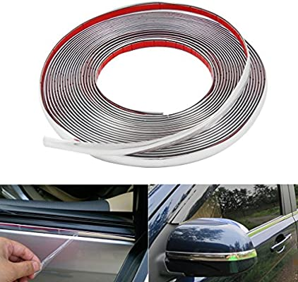 Self Adhesive Car Styling Moulding Strip Chrome Trim Size 10mm x 7.5 Meter