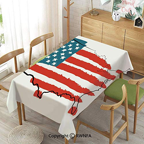 Homenon Wipe Clean Tablecloth for Rectangle Tables,Paintbrush Stylized States Map with Sketch Lines Over It Cultural Design,Waterproof Wrinkle Resistant,Slate Blue Red White,55