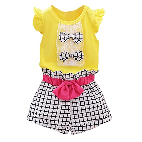 [Girls Clothes Odeer 2017 Toddler Kids Baby Girls Bowknot Vest T-Shirt+Plaid Shorts Outfits Clothes Set (ღSize : 24 Month, ღ :] (Barbie Halloween Outfit)