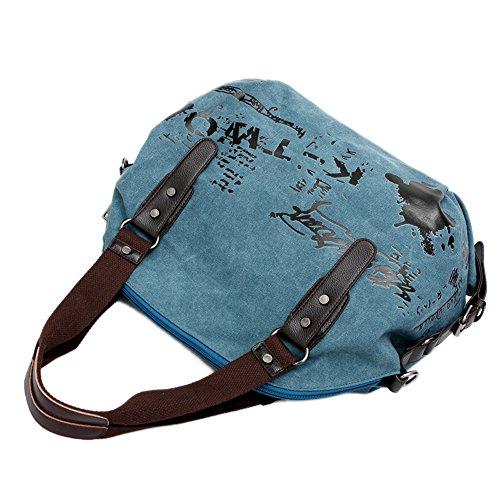 Bandolera Bolso Bolsas de azul Marrón Lona Alliswell Mujeres Hobo de Bolso Letra Impreso Hombro 4vPqHYw5q