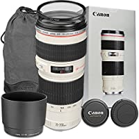 Canon EF 70-200mm f/4L USM Lens with Accessory Bundle for Canon EOS 70D, 80D, 77D, 7D Mark II, 5DS, 5DS R, 6D, 5D Mark III, 5D Mark IV, EOS Rebel T6i, T6s, T7i - International Version