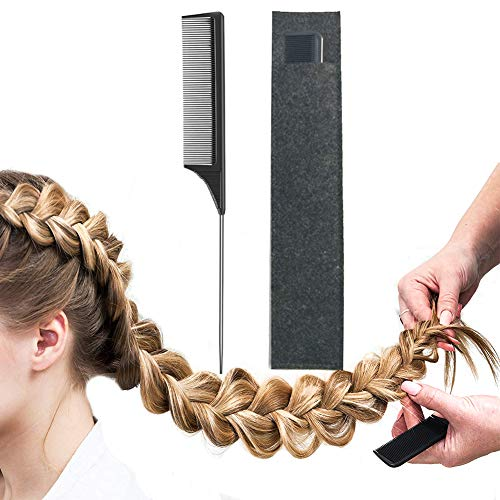 Pintail Comb Carbon Fiber And Heat Resistant Teasing HairTail Combs Metal With Non-skid Paddle For Hair Styling Tools Black (Hair Extension Comb)