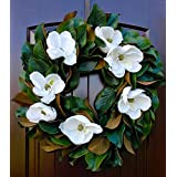 "Southern Magnolia Wreath with Blooms and Leaves for Front Door Rustic Look-22-24"" Diameter"